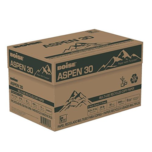 BOISE ASPEN 30 MULTI-USE RECYCLED COPY PAPER, 8 1/2'' x 11'', 3 Hole Punch, 92 Bright White, 20 lb., 5000 Sheets/Carton, 40 Cartons/Pallet