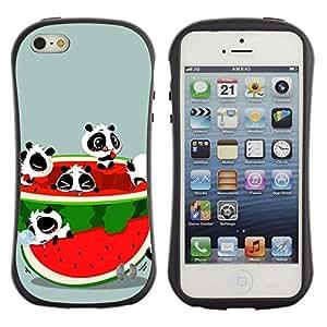 LASTONE PHONE CASE / Suave Silicona Caso Carcasa de Caucho Funda para Apple Iphone 5 / 5S / Funny Cute Animals & Watermelon
