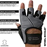 Steel Sweat Workout Gloves - Best for Weightlifting Gym Fitness Training and Crossfit – Made for Men and Women who Love Lifting Weights and Exercise - Leather SCARR Gray XL