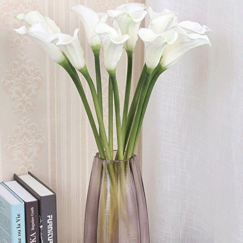 FRP Flowers Large Real Touch Calla Lily Flowers for Office, Home Decor, Floral Arrangements, and Bridal Bouquets (Pack of 6) (White)