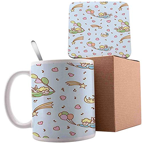 - Little Girl with Shooting Stars Clouds Balloons Music Cartoon, Baby Blue Sea Green Sand Brown;Ceramic mug with Spoon & Coaster Creative Morning Milk Coffee Tea Porcelain 11oz gifts for family