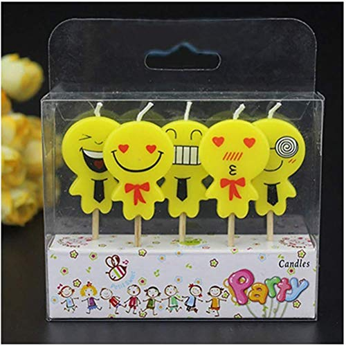 5Pcs/Set Cute Emoji Cake Candles Birthday Wedding Party Celebrations 8x10x2cm Candles -