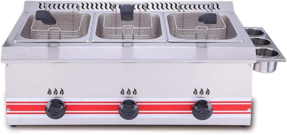 6L Commercial Deep Fryer Capacity Gas Fryer Single Cylinder/Double Cylinder Deep Fryer 60-200? Precise Temperature Control,18L