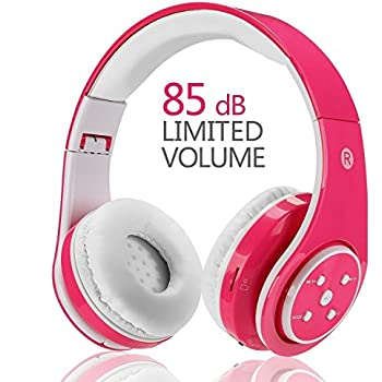 Votones-Wireless Bluetooth Kids Headphones Lightweight Foldable Adjustable Over Ear Earphone with Microphone Aux in SD Card FM for Smartphone PC Tablet(Pink)