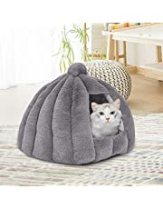 Pet Bed Comfy Kennel Cave Cat Dog Beds Bedding Castle Igloo Nest Grey