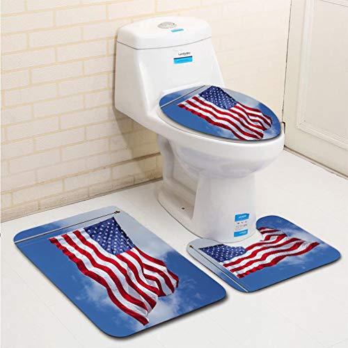 MTSJTliangwan 3-Piece Bathroom Set, Bathroom Rug + Contour pad + lid Toilet seat, American Flag Against The Sky Comfortable Flannel Rug