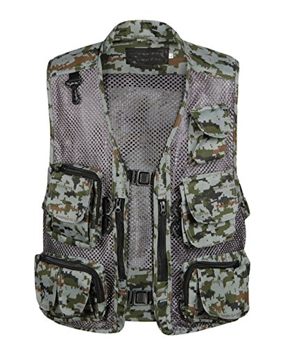 IyMoo Men s Camouflage Mesh Fishing Vest Multi Pockets Photography Outdoor Climbing Causual Tactical Vest-Multi Use Vest
