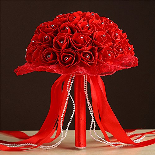 - Crystal Lace Roses Bridesmaid Wedding Bouquet Bridal Artificial Silk Flowers