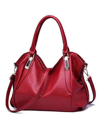 Women's PU Leather Totes Top Handle Bags Ladies Satchel Handbag Shoulder Handbags (red) (Satchel Handbag Red)