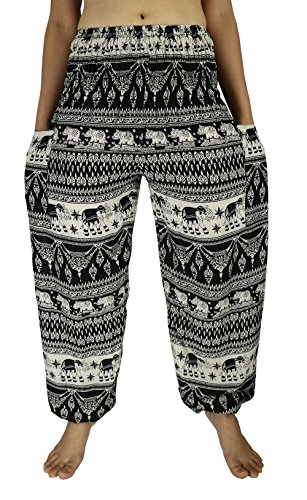 Lek Boutique Womens Elephant Art Print Harem Trousers Hippie Boho Harem Pants Smocked Waist 21-38 Inchs with 2 Pockets 100% Rayon US Size 0-14 (AB Black)
