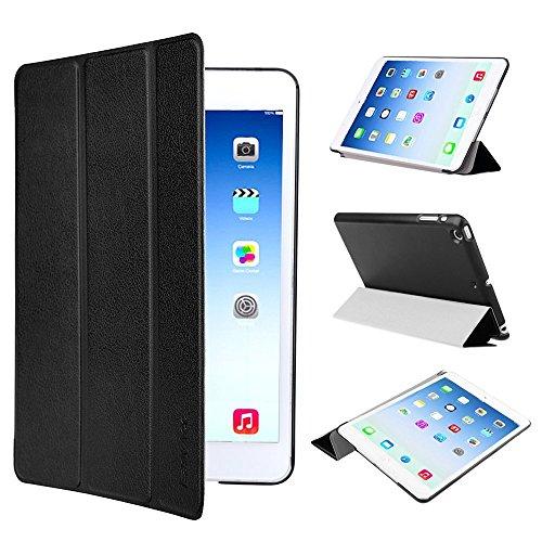EasyAcc Ultra Slim Apple iPad mini 1 / 2/ 3 Hülle Ledertasche Flip Case Smart Cover mit Wake up und Standfunktion für iPad mini/ iPad mini 2/ iPad mini 3 (2014) - Schwarz, Kunstleder, Ultra Dünn.