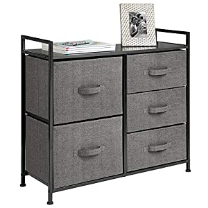 mDesign Wide Dresser Storage Tower – Sturdy Steel Frame, Wood Top, Easy Pull Fabric Bins – Organizer Unit for Bedroom, Hallway, Entryway, Closets – Textured Print, 5 Drawers