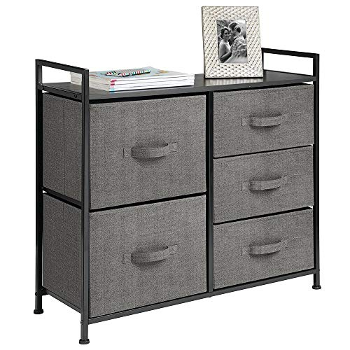 mDesign Wide Dresser Storage Tower - Sturdy Steel Frame, Wood Top, Easy Pull Fabric Bins - Organizer Unit for Bedroom, Hallway, Entryway, Closets - Textured Print, 5 Drawers - Charcoal Gray/Black