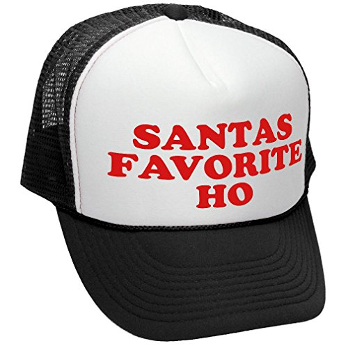 The Goozler Santas Favorite HO Funny Claus Party - Adult Trucker Cap Hat, Black -