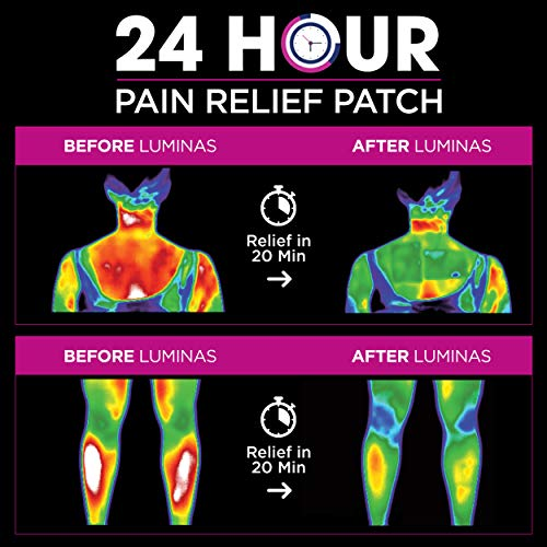 - LUMINAS Pain Relief Patches (24 Pack) Up to 24 Hours of Pain Relief for: Joints, Back, Hip, Neck, Headache, Shoulder, Knee, Menstrual Cramps, Muscles, Tendon, Foot, and Other Common Aches and Pains.