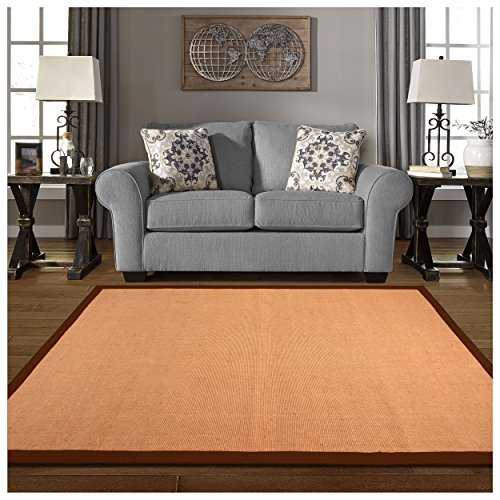 Superior 100% Jute Hand Woven Natural Fiber Area Rug, Classic 100% Cotton Twill Border, Rubber Non-slip Rug Backing - Chocolate, 4' x 6' Rug Cotton Border Jute