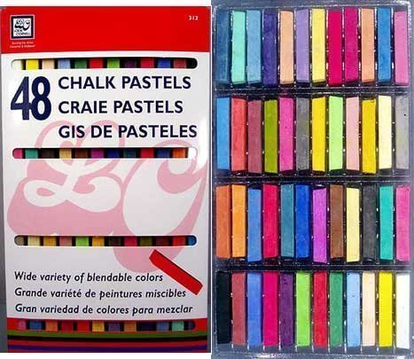 48 Soft Drawing Chalk Pastels in Brilliant Assorted Colors