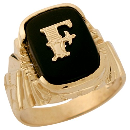 14k Solid Gold Fancy Nugget Design Onyx Letter F Mens Initial Statement Ring