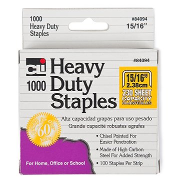Extra Heavy Duty Staples; 15/16'' Chisel Point - 1000 Staples per Box; no. CHL84094