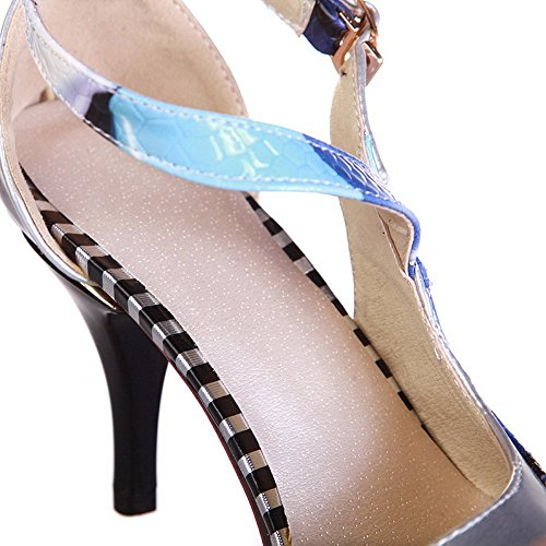 toe body pointed Adee Poliuretano zapatos plata Ladies bombas cross strap qEwPPUxTX
