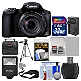 Canon PowerShot SX60 HS Wi-Fi Digital Camera with 32GB Card + Case + Flash + Battery & Charger + Tripod + Sling Strap + Kit