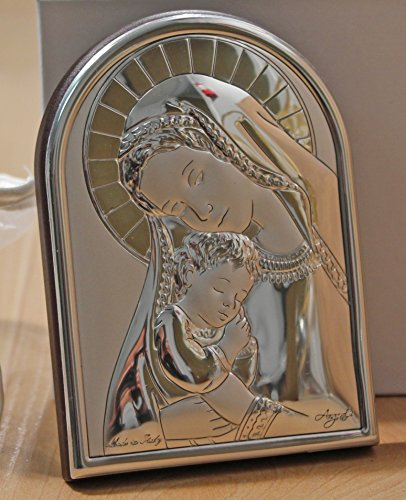 (Argento Madonna and Child Italian Religious Icon on Wood Stand - Made in Italy Baptism Favors)