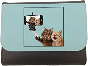 محفظة جلد بتصميم صورة سيلفي لقطط ، مقاس 11cm X 14cm