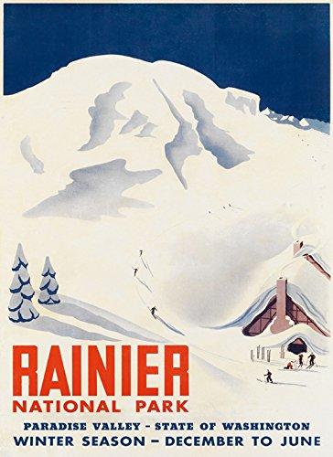 Ski Skiing in Rainier National Park Washington State Paradise Valley American Winter Sport Vintage Poster Repro 16