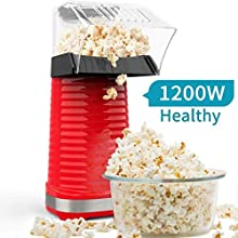 Air Popper Popcorn Maker, Electric Hot Air Popper Popcorn Machine for Home, Healthy Hot Air swirling Popcorn Popper No Oil, DIY Your Own Taste,with Measuring Cup and Removable Top Cover—Red