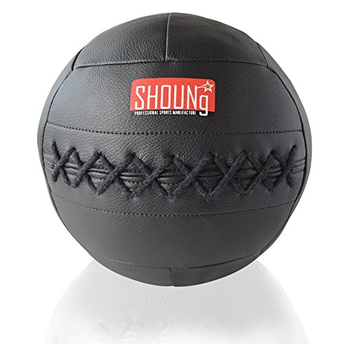 SHOUNg Soft Medicine Ball / Wall Ball for CrossFit (Black, 5lbs)