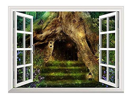 Removable Wall Sticker Wall Mural Old Tree in the Forest with a Little House in it's Roots Creative Window View Wall Decor