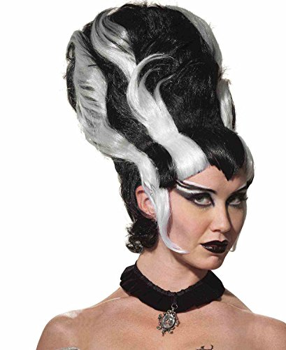 Monsters Bride Costume (Forum Women's Monster Bride Wig, Black/White, One Size)