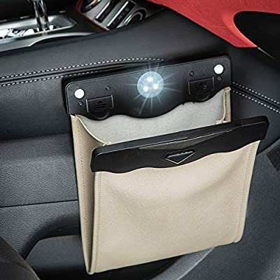 Smart LED Car Trash Can Waterproof Garbage Bag Passenger Side Artificial Leather Storage Pocket Leak Proof Reusable Traveling Portable Offices Toilet Garbage Cans Back Seat Hanging(Beige-1pack): Automotive