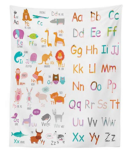 Lunarable Zoo Tapestry Twin Size, Colorful Alphabet Zoo Letters Learn to Read Mr.Bear Tiger Iguana Monkey Unicorn Ant, Wall Hanging Bedspread Bed Cover Wall Decor, 68 W X 88 L Inches, Multicolor ()