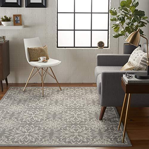 (Nourison JUB06 Jubilant Transitional Floral Ivory/Grey Area Rug 6' x 9')