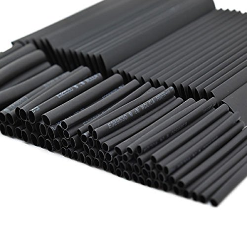 SOLOOP 150pcs 2:1 Heat Shrink Tubing,Wire Wrap Cable Sleeve tubing, Electric Insulation Tube 7 sizes Assorted Black - For Automotive, Household, Audio, Video Applications