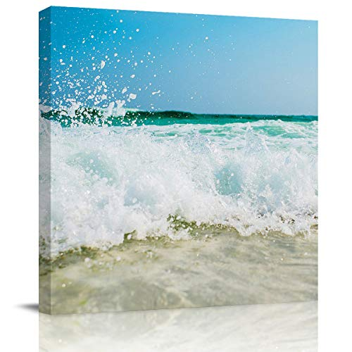 SUN-Shine Canvas Wall Art Oil Painting Prints Stretched and Framed, Waves Hitting The Sand On The Beach Wall Artworks Picture for Living Room Kitchen Bedroom Decoration, 28X28Inch -