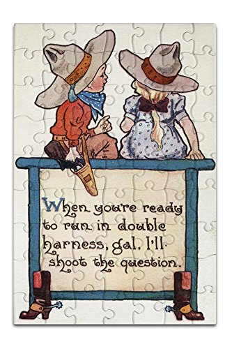 Comic Cartoon - Cowboy Tells Cowgirl When She's Ready to Run in Double Harness, He'll Ask (8x12 Premium Acrylic Puzzle, 63 (Cartoon Cowgirl)