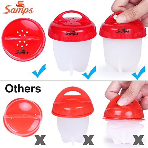 Hard Boiled Egg Cooker Prime without the Shell, Non-Stick Silicone, Soft Maker Egg Poacher, 6 PACKS by Samps (Image #2)