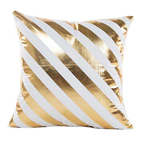 Super Soft Throw Pillow Case Cover Gold Foil, FreshZone Christmas Pillow Covers 18x18 Xmas Pillow Case Decorative (Gold F)