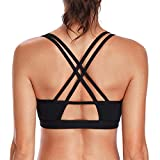 V FOR CITY Womens Sports Bra Light Impact Crisscross Back Padded Wireless Workout Activewear Running Yoga Bra XL Black For Sale