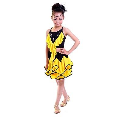 489ef6f2 BOZEVON Girls Fashion Latin Dance Costumes Kids Backless Sleeveless Clothes  Tango Ballroom Performance Dress: Amazon.co.uk: Clothing