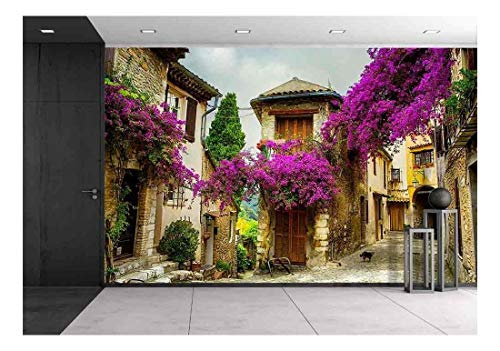 (wall26 - Beautiful Old Town of Provence - Removable Wall Mural | Self-Adhesive Large Wallpaper - 100x144 inches)