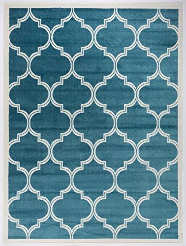 Cheap Antep Rugs Zeugma Collection Trellis Polypropylene Area Rug (Dark Blue/Cream, 5'3 x 7′)