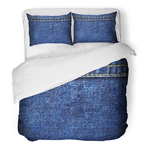SanChic Duvet Cover Set Closeup Blue Denim Seam Color Fade Fiber Flat Decorative Bedding Set with 2 Pillow Cases Full/Queen Size ()