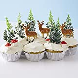 Winter Woodland Cupcake Decorating Display Kit (6) Deer Pick Novelty Toppers (12) Pine Tree Novelties (6) Red Sugar Mushrooms (30) Silver Foil Baking Cups
