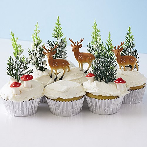 ake Decorating Display Kit (6) Deer Pick Novelty Toppers (12) Pine Tree Novelties (6) Red Sugar Mushrooms (30) Silver Foil Baking Cups (Cake Decorating Kit Birthday Topper)