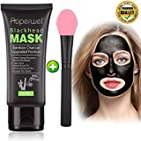 Blackhead Remover Mask Black Mask - Auperwel Purifying Quality Peel off Charcoal Deep Cleaning Mud Facial Mask 2.11 ounce (black mask with brush)