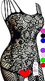 Daisland Women Sexy Lingerie Sleepwear Nightwear Fishnet Bodystocking Bodysuit (0018 Black)