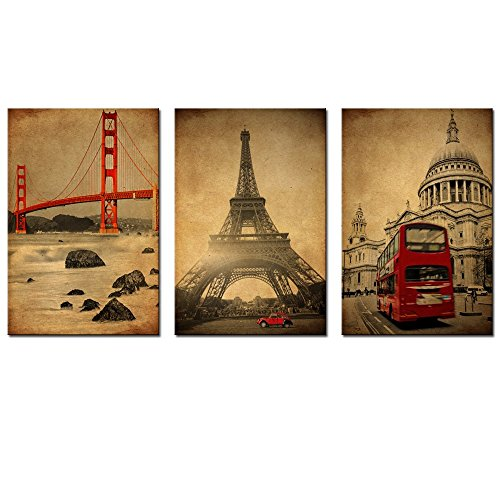 Sea Charm - Modern 3 Piece Wall Art Golden Gate Bridge Eiffel Tower and London Red Bus Retro Picture Canvas Prints Cityscape Painting Stretched and Framed Vintage Home Wall Decor